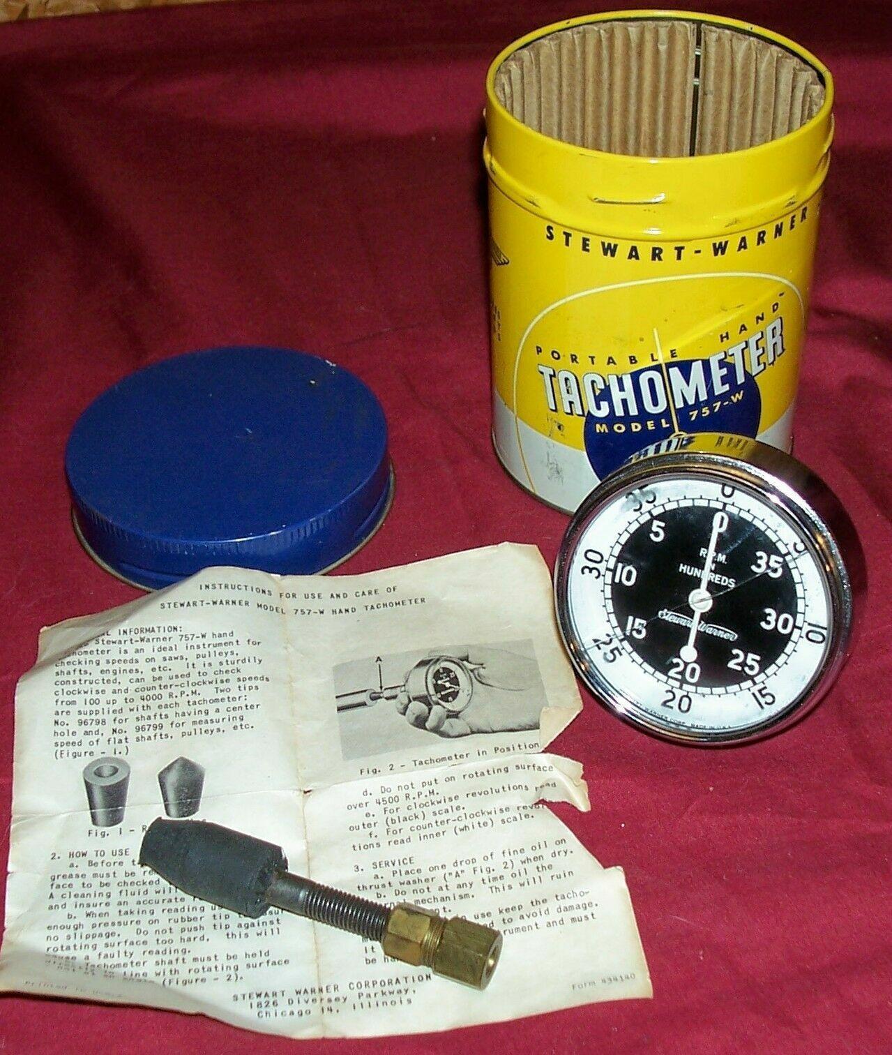 Stewart Warner Portable Hand Tachometer Model 757 W