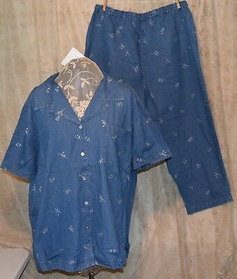 2 PC QVC DENIM & CO  PRETTY DENIM FLORAL EMBROIDERED CAMP SHIRT/CROP PANTS  (Cropped Embroidered Denim Shirt)
