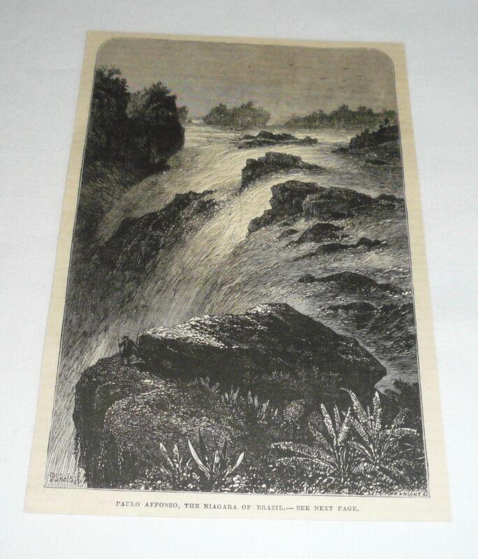 1878 magazine engraving ~ PAULO AFFONSO, THE NIAGARA OF BRAZIL