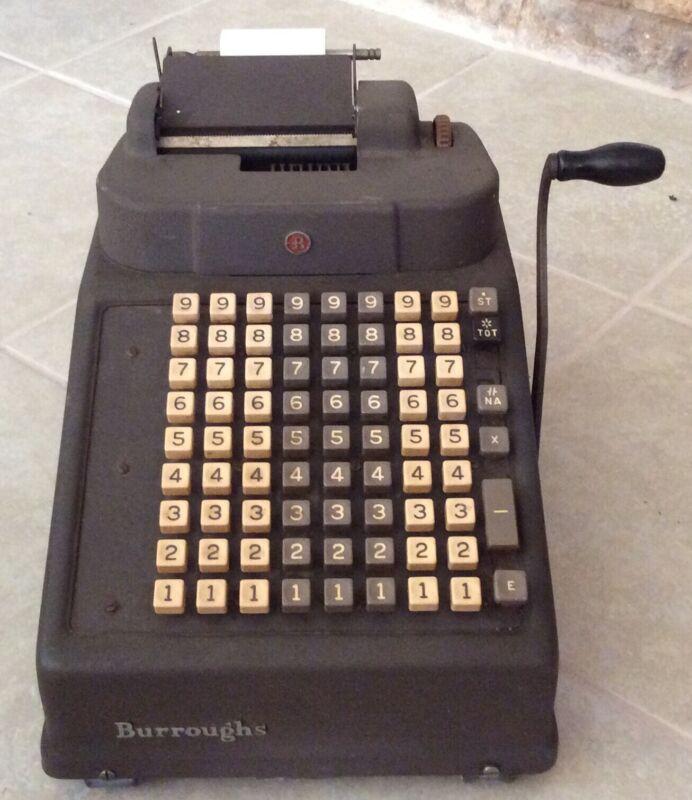 Vintage Burroughs Portable Printing Adding Machine Hand Crank USA