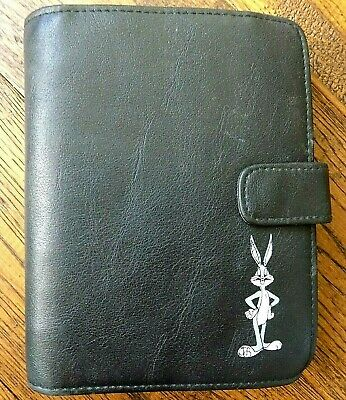 Looney Tunes Personal Organizer Planner Day Runner Black Leather Bugs Bunny Vtg