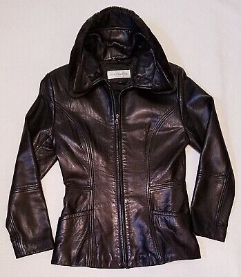 Jones New York LEATHER JACKET with Faux Fur Collar - Black WOMENS Petite (Black Leather Jacket With Fur Collar Womens)
