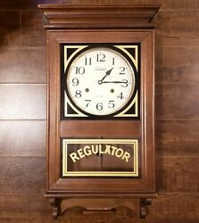 ANTIQUE REGULATOR WALL CLOCK WEST MINISTER CHIME VINTAGE LARGE WOOD CASE W/O KEY