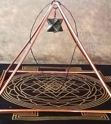"""Copper PYRAMID, 8.5"""" Solid Copper Pyramid With Sri Yantra Mat and Merkaba"""