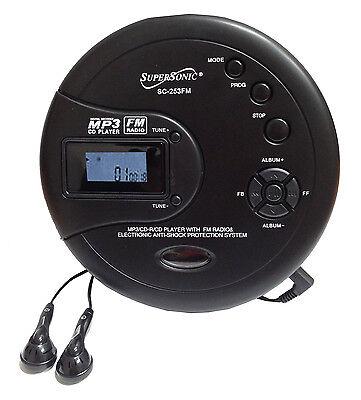 Supersonic Personal CD Disc Player w/MP3 FM Scan Radio 120 Sec Anti-shock SC-253