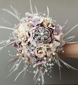 Alternative wedding bouquet,feather,vintage, blush,brooch,hand made,most colours