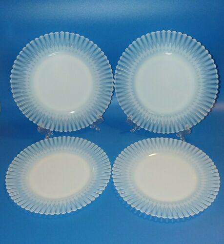 Macbeth Evans Petalware Monax Luncheon Plates Plain Base Translucent Set Of 4