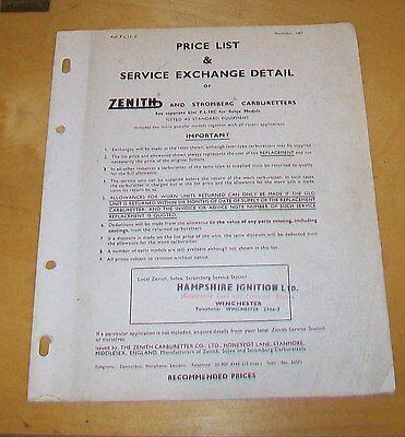 ZENITH & STROMBERG  CARBURETTER APPLICATION & PRICE LIST P.L.11C November 1967