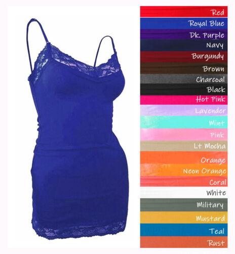 Lace Trim Tank Top Adjustable Spaghetti Strap Cami V-neck Plus Size 1X/2X/3X