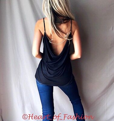 - SEXY Black Relaxed Sleeveless Chain Embellished Open Cowl Drape Back Summer Top