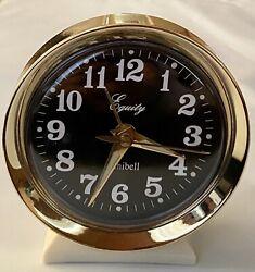 Vtg Equity Minibell Wind-Up Alarm Clock Luminous Beige Gold Trim Blk Face WORKS