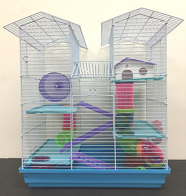 Rodent Cage - 5 Level Large Twin Tower Syrian Hamster Habitat Rodent Gerbil Degu Mice Cage --