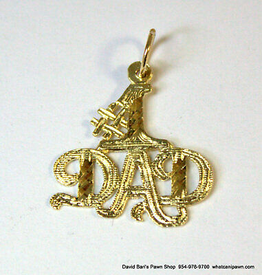 14K Yellow Gold  #1 DAD Charm Pendant