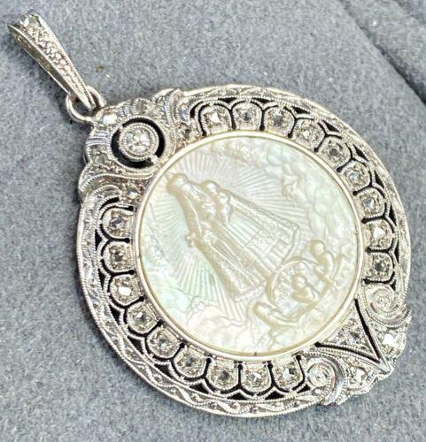 Antique Carved Virgin Mary wth Child MOP Diamond 14K White Gold Filigree Pendant