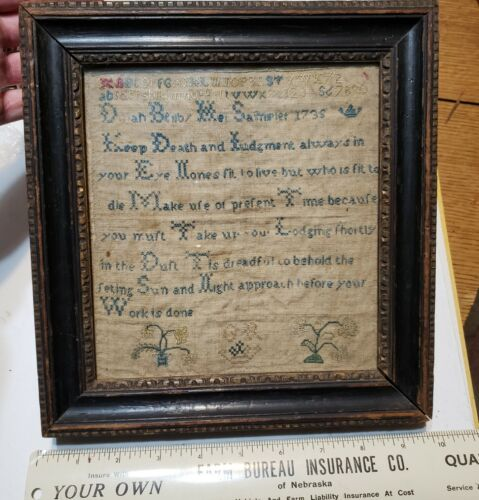 Antique Early ca. 1735 Sampler in small sized framed primitive - really cool