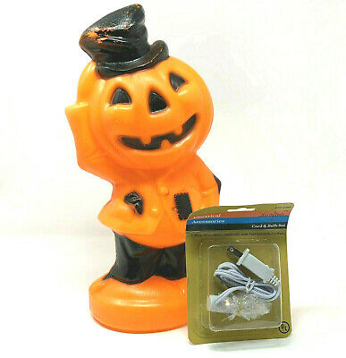 "Vintage Empire Blow Mold Scarecrow Orange Jack-O-Lantern Standing Hat 1969 14"""