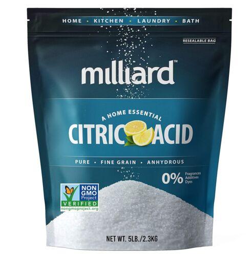 Milliard Citric Acid 5 Pound - 100% Pure Food Grade NON-GMO Project VERIFIED (5