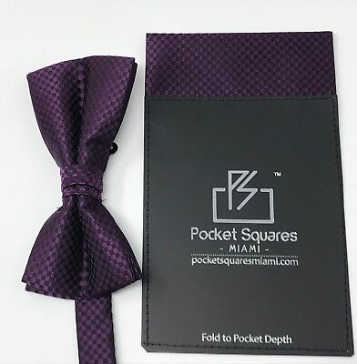 Mens Party Wear Pocket Square Handkerchief Pre Folded And Matching Bow Tie Combo