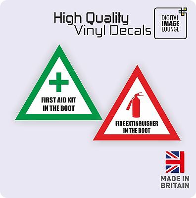 First Aid & Fire Extinguisher in the Boot Vinyl Sticker Minicab Taxi Van Bus