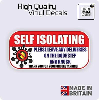 X2 SELF ISOLATING Door Sign Sticker, Office Hygiene, Window Isolate COVID, Virus