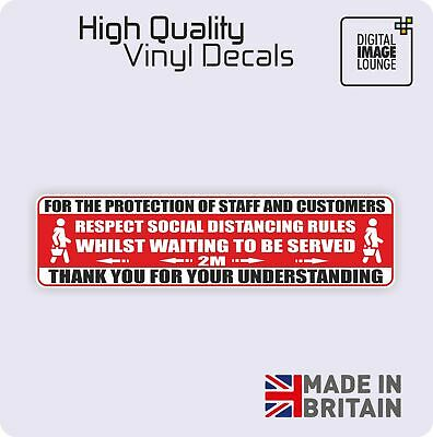 Social Distancing 290x75mm Shop Sign/Sticker COVID - Virus - 2M - External Decal