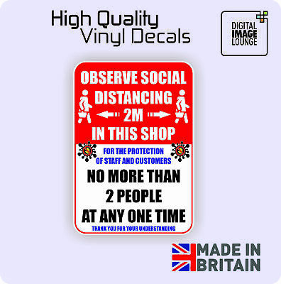 Social Distancing - A5 Shop Sign/Sticker - COVID - Virus - 2M - External Decal