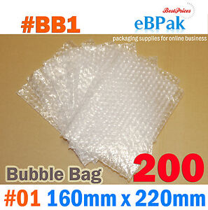 Bubble Pouch Bag : 200pcs #01 160x220mm Clear Bubble Wrap Bags #BB1