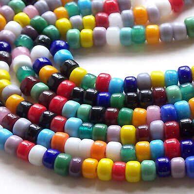 Multi Color Mix Crow Beads, Glass Pony Beads 9mm 50pc, 3mm Large Hole Opaque (Glass Pony Beads)