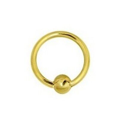 14k Gold Ball Closure Ring (14K Solid Yellow Gold  Nipple Captive Ball Closure Bead Ring Body Jewelry)