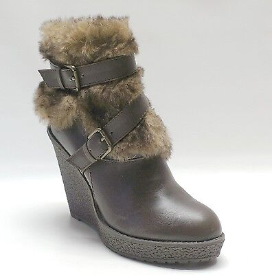 Baby Phat Brown Ankle Furry Boots Demaris Wedge Women's Shoes 6.5 ()