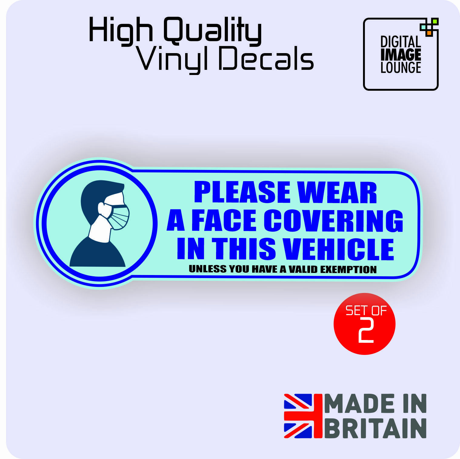 Car Parts - 2 X Please Wear Face Mask/Covering-Taxi, Private Hire Car/Vehicle Window Sticker