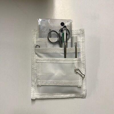 White Nurse Kit Pocket Organizer Penlight Scissor 4 Colored Pen Ruler New