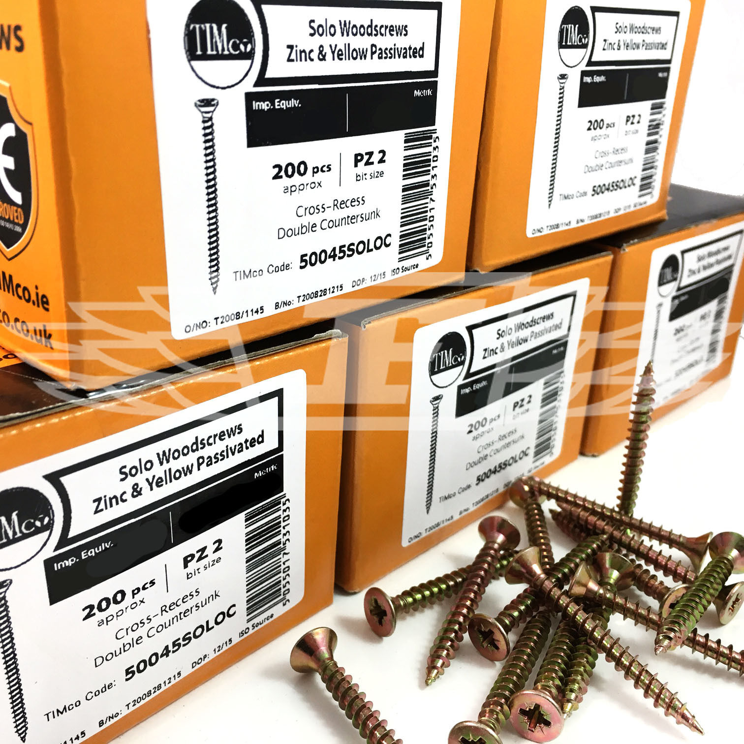 5.0mm x 100mm TIMco Solo Yellow Wood Screws Pozi Countersunk 200