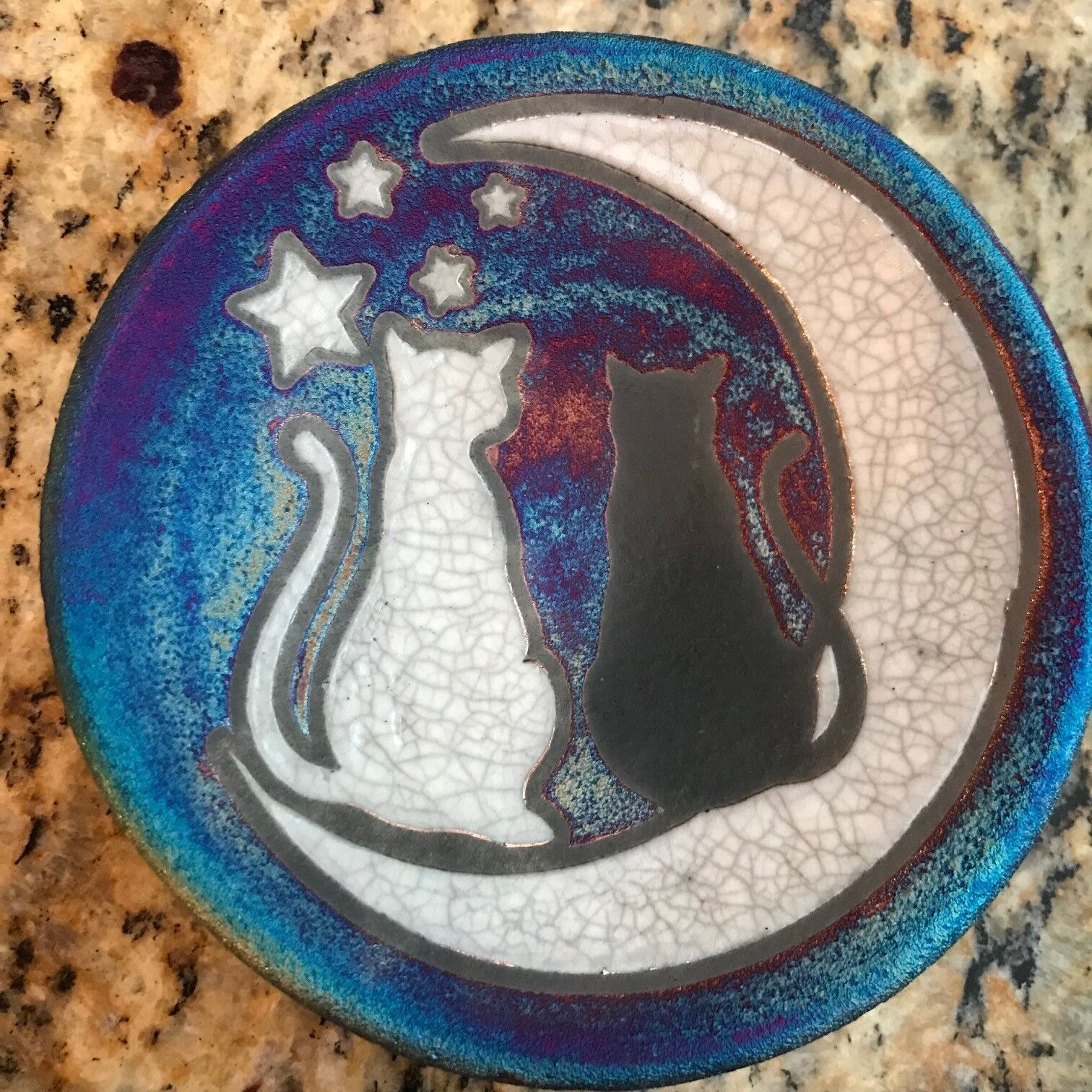 Cats and Moon Coaster Raku Pottery, handmade, handsigned - NEW