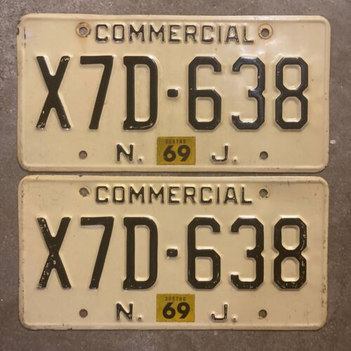 1960 New Jersey license plate pair X7D 638 commercial truck 1969