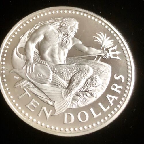 1973 Barbados 10 Dollars Neptune Large Frosted Proof