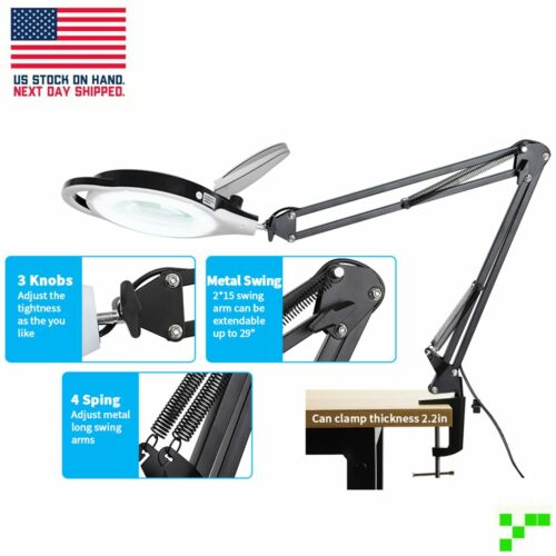 LED Dimmable Magnifying Lamp with Clamp Adjustable Metal Arm Magnifier Light USA