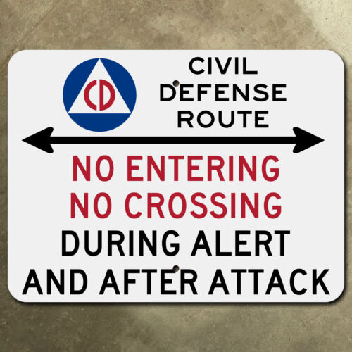 Civil Defense Route highway marker road sign 1950s atomic age cold war