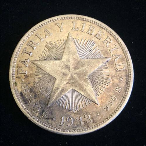 1 UN PESO 1933 Silver Crown .900 Very Scarce VF Quality Coin