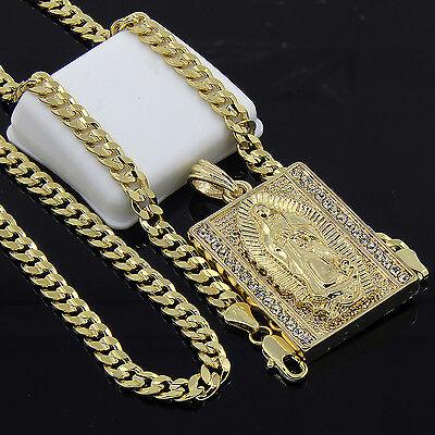 Mens Gold Plated Hip-Hop Block Virgin Mary Pendant 24