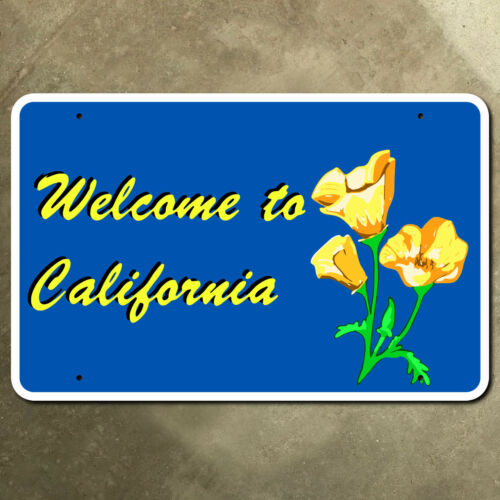 California state line highway marker road sign poppy 1983 21 x 14