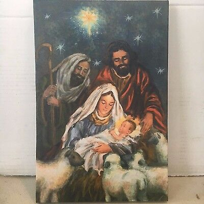 Nativity Scene Photo on Canvas with Led Lights Wall Art Christmas Decor