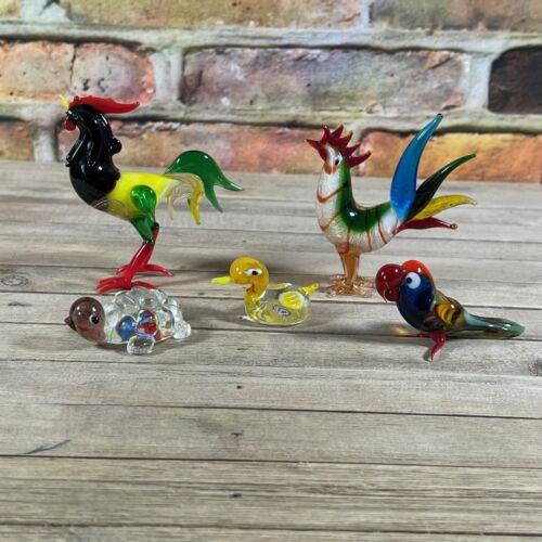 VTG Italian Blown Art Glass Lot Of 5 -Roosters, Parrot, Duck, Turtle Miniatures
