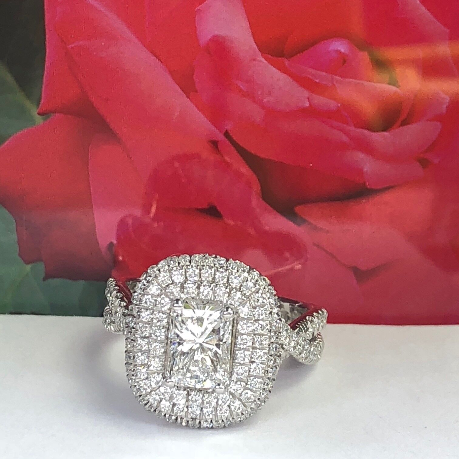 GIA Certified 2.18Ct F-SI1 Radiant Cut Diamond Engagement Infinity Ring 18k Gold 1