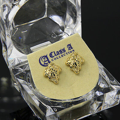 Men's Gold Plated 14k Hip Hop Chipped Gold Nugget Butterfly Back Stud