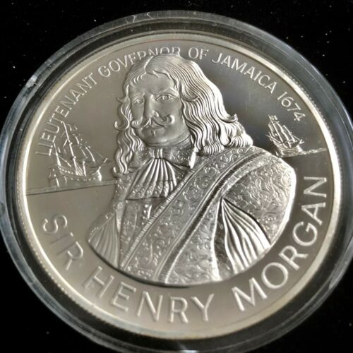"1974 Jamaica $10.00 Silver Frosted Proof ""Sir Henery Morgan"""