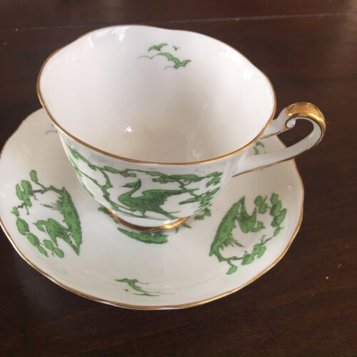 "Rare Royal Chelsea English Bone China Cup And Saucer Gold Trim ""Evergreen"""