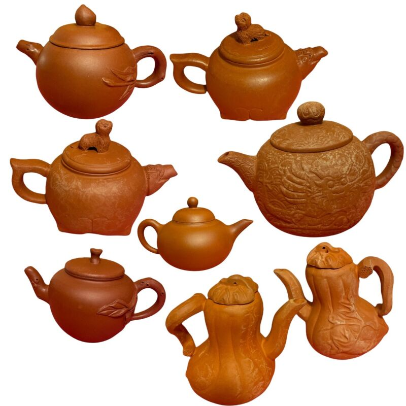 Lot of 8 Chinese Yixing Teapots Vintage Estate Find Pottery Clay Dark Red