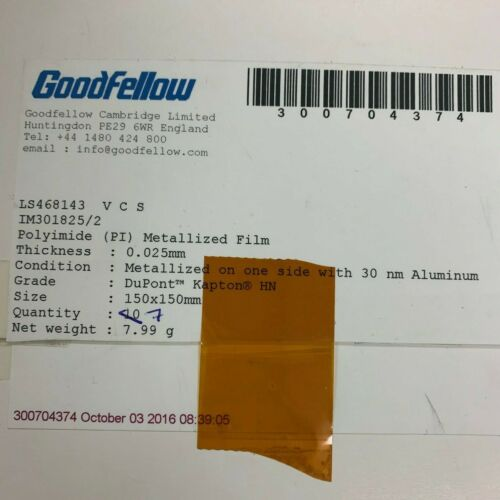 Polyimide (PI) film, 0.025mm, Goodfellow