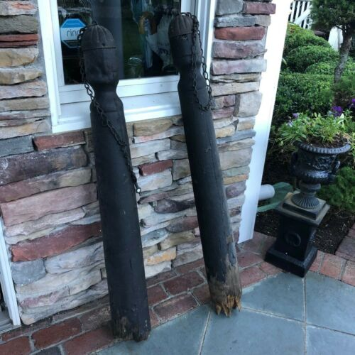 HTF Antique 19th Century Pair Wooden Hitching Posts w/ Iron Tops